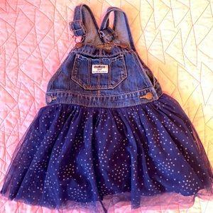 Osh Kosh kids blue sparkle skirt overall set.